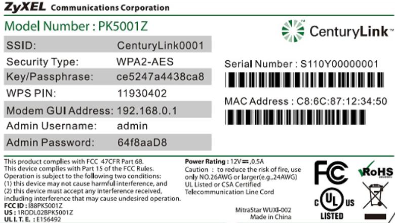 Наклейка на корпусе Wi-Fi роутера Zyxel Keenetic с данными для входа на 192.168.1.1 или 192.168.0.1